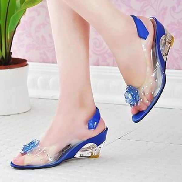 Flower Slingbacks Wedge Heel Shoes (1625383337) 2