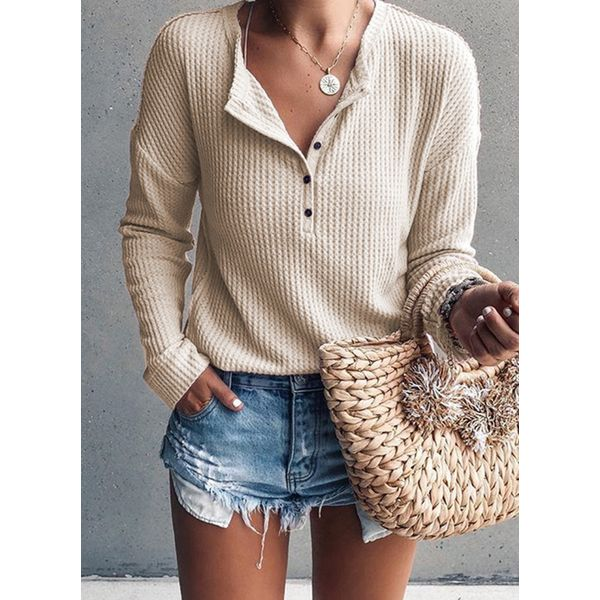 Round Neckline Solid Loose Regular Embroidery Buttons Sweaters (1675340242) 1
