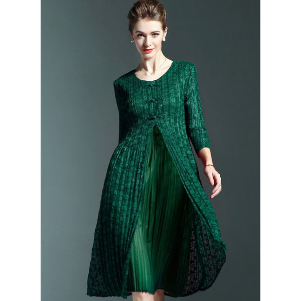 Solid Buttons 3/4 Sleeves Knee-Length A-line Dress (1955108946) 1