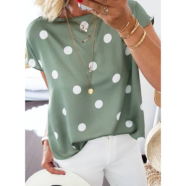 Color Block Casual Round Neckline Short Sleeve Blouses (1645413969)