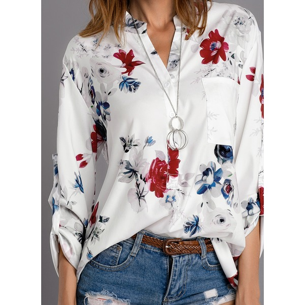 Floral Casual Stand Collar Long Sleeve Blouses (01645305950) 6