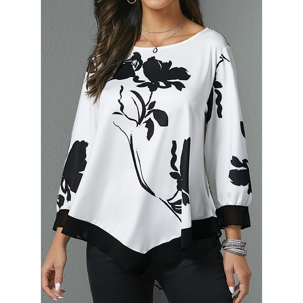 Floral Casual Round Neckline 3/4 Sleeves Blouses (1645445894)