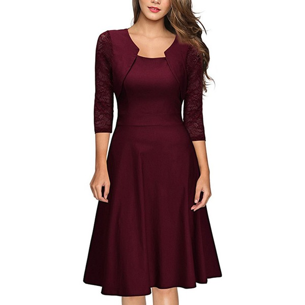 Solid Skater 3/4 Sleeves Knee-Length A-line Dress (1955252037) 1