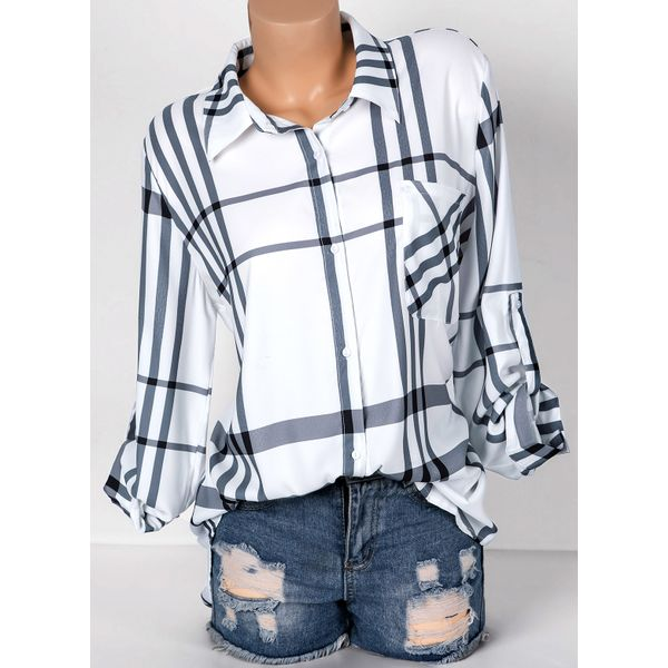 Tartan Collar Long Sleeve Blouses (01645363218) 4