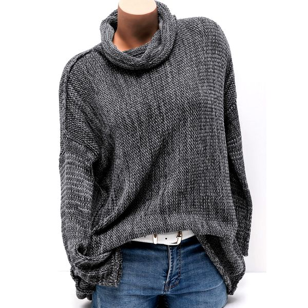 High Neckline Solid Loose None Sweaters (01675348639) 1