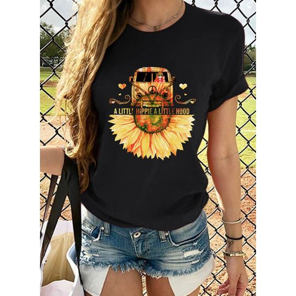 Floral Round Neck Short Sleeve Casual T-shirts (1685597518)