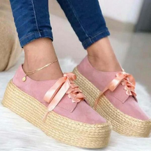Women's Ribbon Tie Lace-up Closed Toe Round Toe Cotton Wedge Heel Platforms (1625577122)
