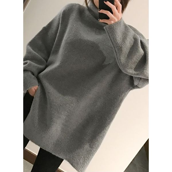 High Neckline Solid Loose Long Shift Sweaters (1675376838) 6