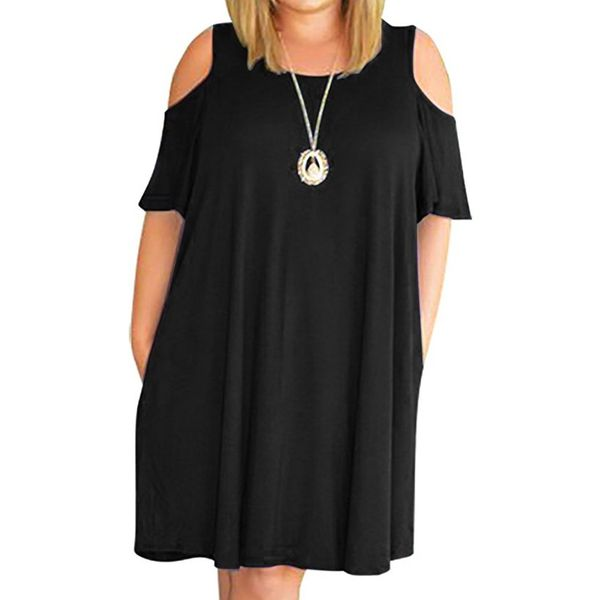 Plus Size Solid Short Sleeve Knee-Length Shift Dress (1955378414) 2