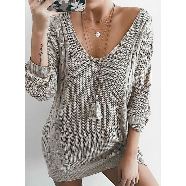 V-Neckline Solid Loose Long Shift Sweaters (1675373320) 11