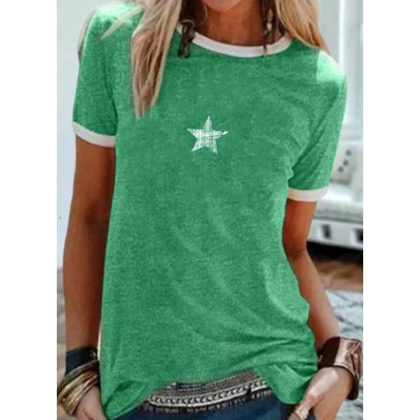 Color Block Round Neck Short Sleeve Casual T-shirts (1685588207)