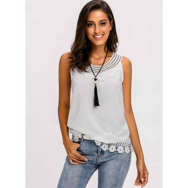 Solid Casual Camisole Neckline Sleeveless Blouses (01645379406) 5