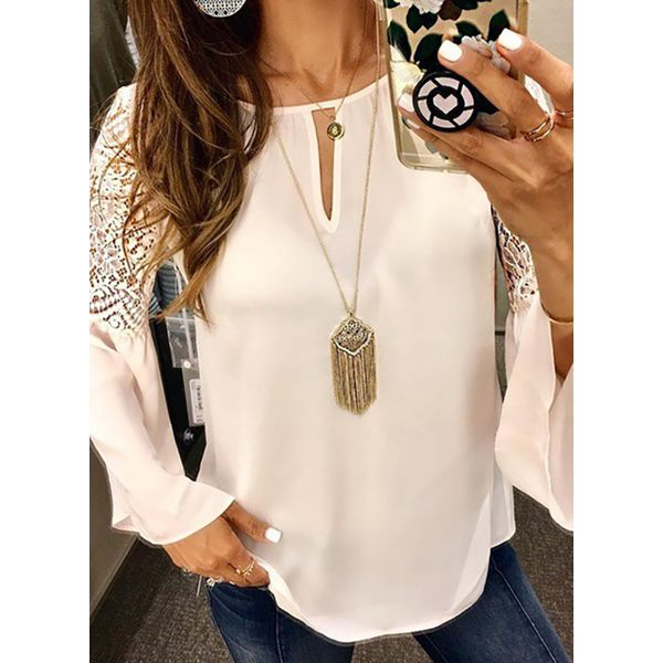 Solid Casual Round Neckline Long Sleeve Blouses (1645479020)