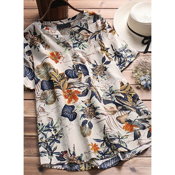 Floral Casual Round Neckline Short Sleeve Blouses (1645442081)
