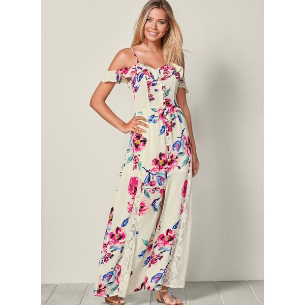 Floral Buttons Sleeveless Maxi X-line Dress (1955395632, White
