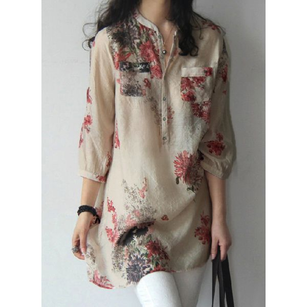Floral Arabian Round Neckline 3/4 Sleeves Blouses (1645254226) 2