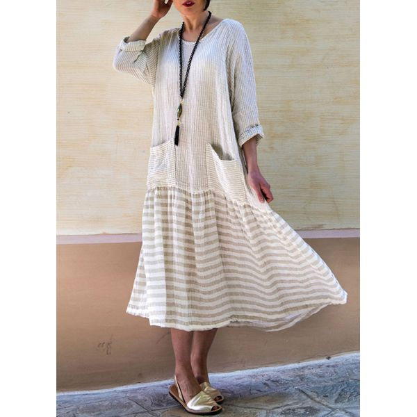 Stripe 3/4 Sleeves Midi A-line Dress (1955374050)