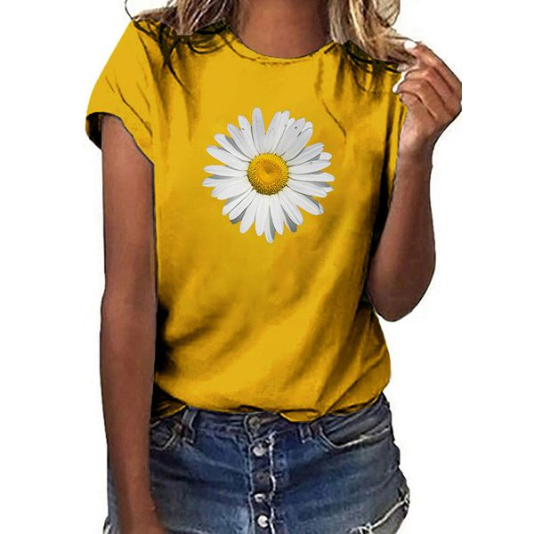 Floral Round Neck Short Sleeve Casual T-shirts (1685597726)