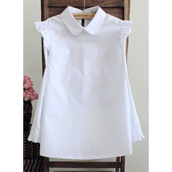 Solid Casual Collar Sleeveless Blouses (1645580641)