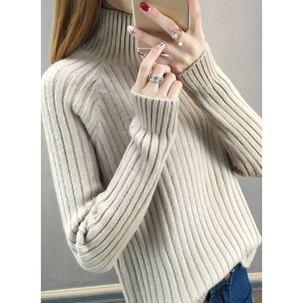 High Neckline Solid Loose Regular Shift Sweaters (1675380814) 3