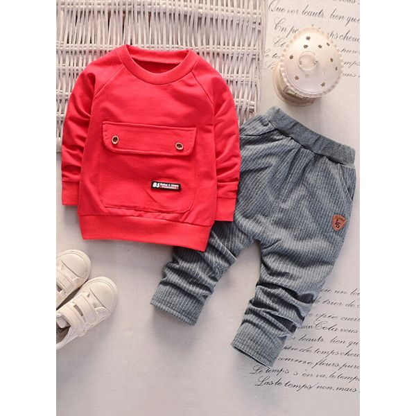 Boys' Basic Solid Daily Long Sleeve Clothing Sets (30165379447) 3