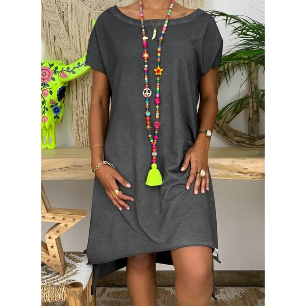 Plus Size Tunic Solid Boat Neckline Casual Knee-Length Plus Dress (1955407821)
