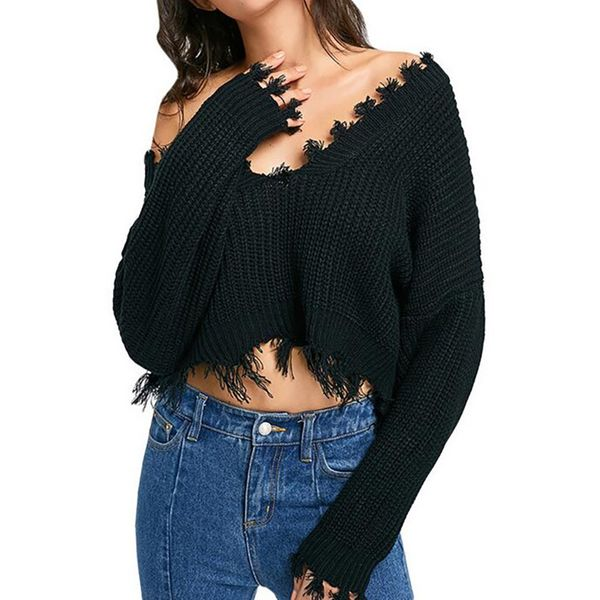V-Neckline Solid Loose Short Shift Sweaters (1675376857) 3