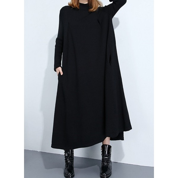 Solid Pockets Long Sleeve Maxi Shift Dress (1955326522) 11