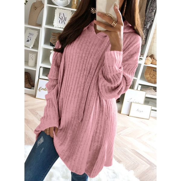Hooded Solid Loose Long Shift Sweaters (1675366490) 2