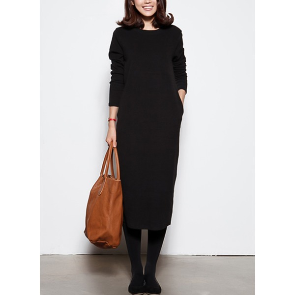 Solid Pockets Long Sleeve Midi Shift Dress (1955329191) 11