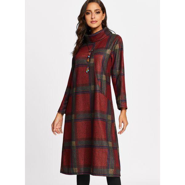Plaid Long Sleeve Midi A-line Dress (01955374994) 4