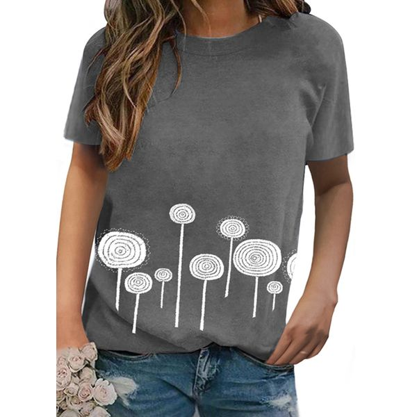 Floral Round Neck Short Sleeve Casual T-shirts (1685571019)