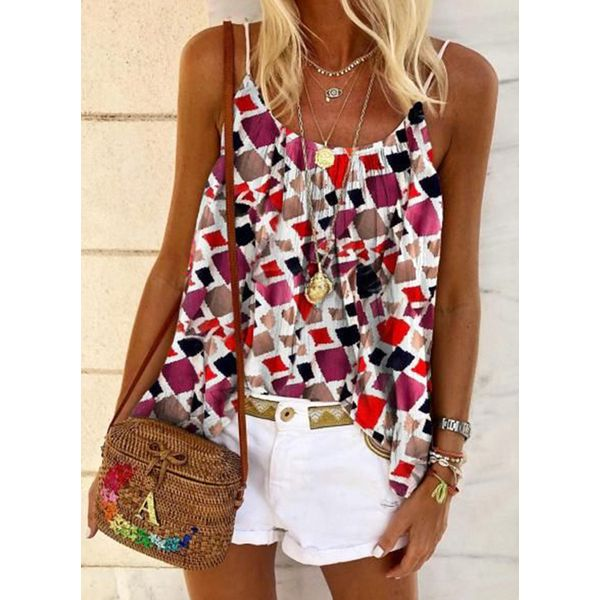 Color Block Casual Camisole Neckline Sleeveless Blouses (1645560803)
