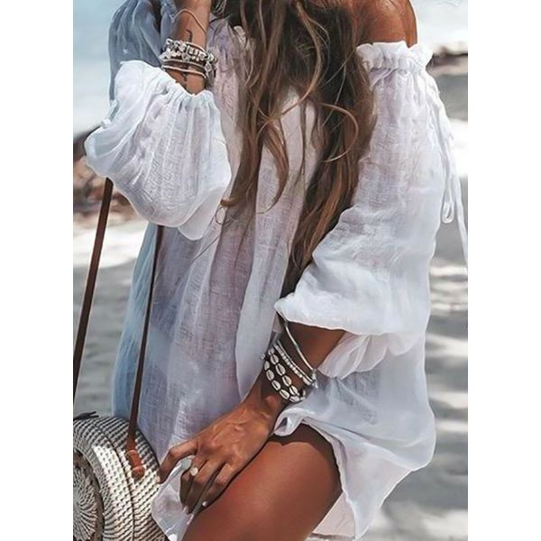 Polyester Off the Shoulder Solid Cover-Ups Swimwear (30015568473)