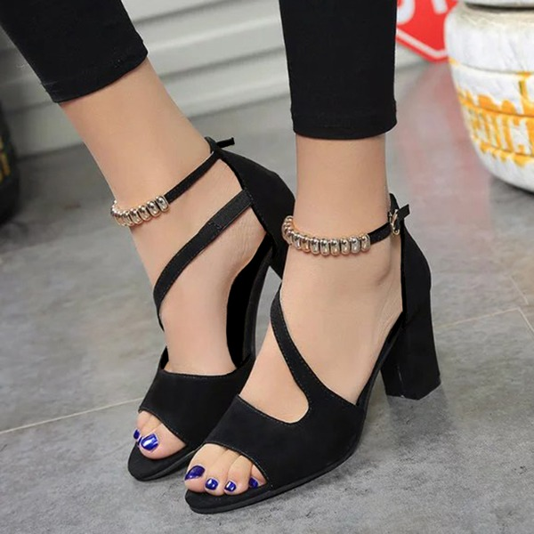 Ankle Strap Heels Chunky Heel Shoes (1625265119) 6