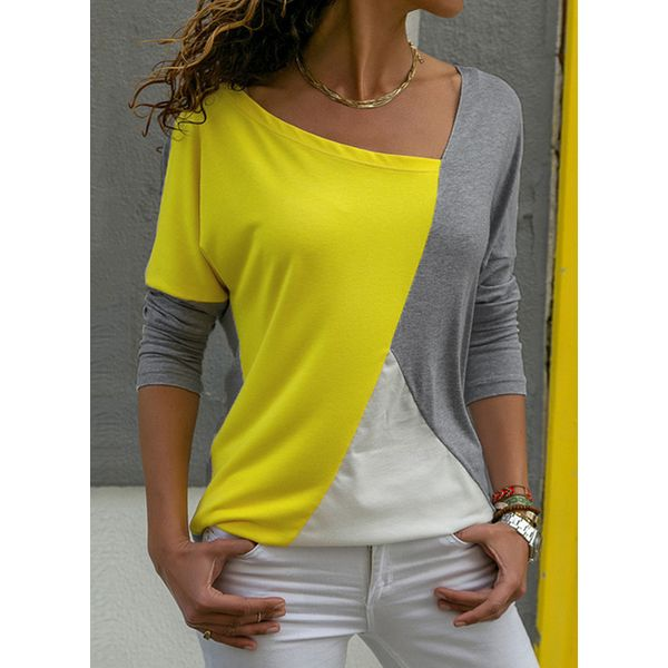 Color Block Casual V-Neckline Long Sleeve Blouses (1645381473) 10