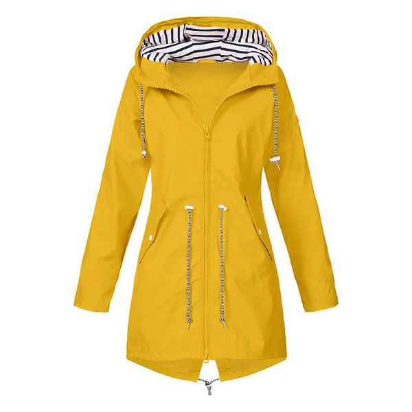 Long Sleeve Hooded Buttons Zipper Pockets Zip Up Coats (1715372070) 2