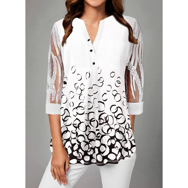 Color Block Casual V-Neckline 3/4 Sleeves Blouses (1645534092)