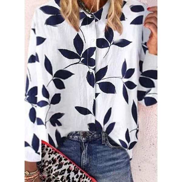 Floral Casual Collar Long Sleeve Blouses (1645593534)
