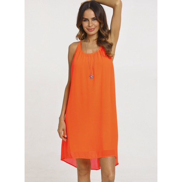 Solid Sleeveless Above Knee A-line Dress (01955221049) 4