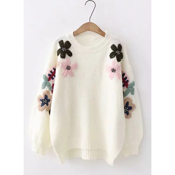 Round Neckline Floral Loose Regular Shift Sweaters (1675379019) 2