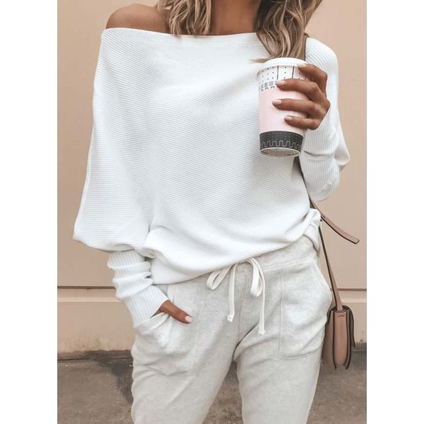 Solid Sexy Oblique Neckline Long Sleeve Blouses (1645359235) 4