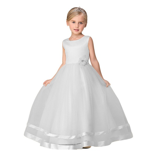 Girls' Solid Party Sleeveless Dresses (30135322364) 3