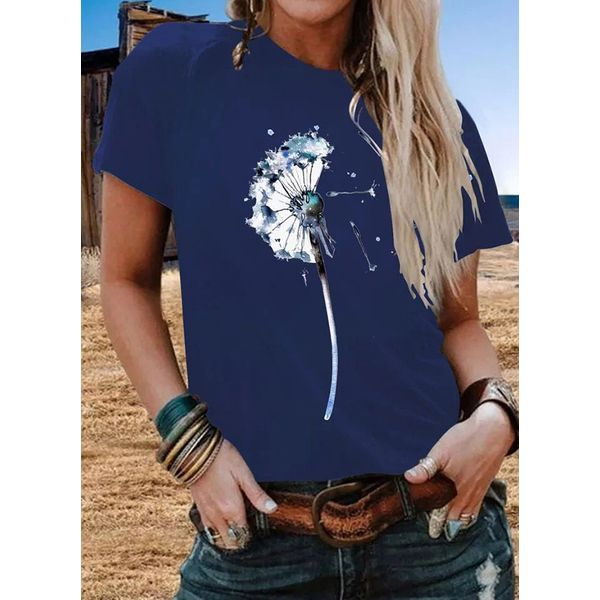 Floral Round Neck Short Sleeve Casual T-shirts (1685575722)