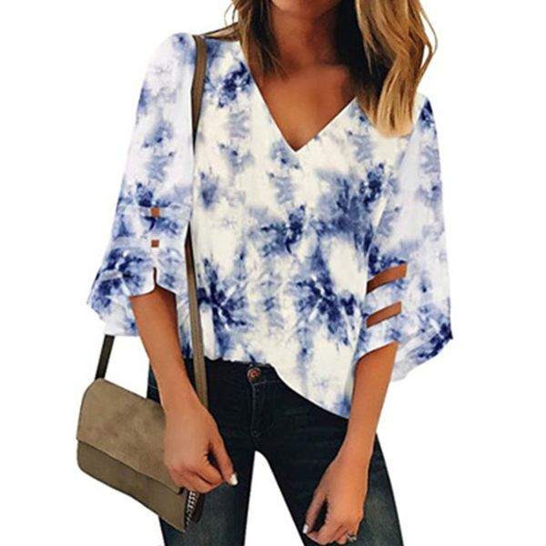 Color Block Casual V-Neckline 3/4 Sleeves Blouses (1645592417)