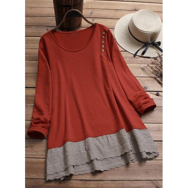 Color Block Casual Round Neckline Long Sleeve Blouses (1645381468) 11
