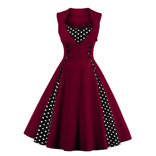 Polka Dot Buttons Skater Midi A-line Dress (1955253025) 2