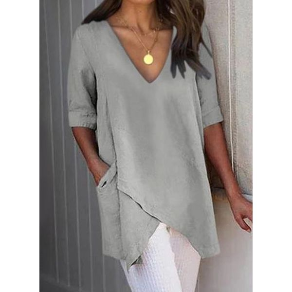 Plus Size Solid Casual V-Neckline Half Sleeve Blouses (30355553577)