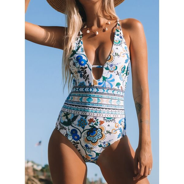 Polyester Knotted Floral One-piece Swimwear (30015558017)