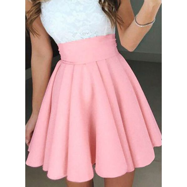 Solid Above Knee Cute Skirts (1725381517, Gray;pink;white;yellow;dark blue